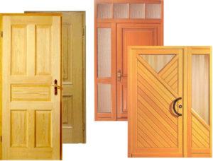 деревянных дверях