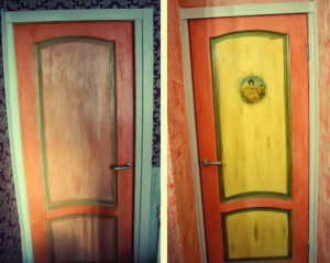 Использование красок для декорирования межкомнатных дверей
