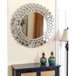 круглое зеркало на стене
